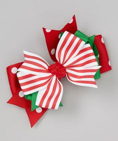 Take a look at this Red & Green Candy Stripe Bow Clip by Festive Fifi on #zulily today!