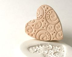 Pottery Texture Stamp, Heart with Spirals, Swirls and Dots, Texture Tool, For Ceramics, Polymer Clay, Jewelry Making