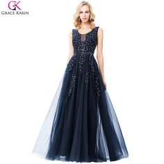 bb02126f726 Grace Karin Navy Blue Evening Dress V Neck Tulle Elegant Formal Party Gowns  Lace Applique See Through Special Occasion Dresses-in Evening Dresses from  ...