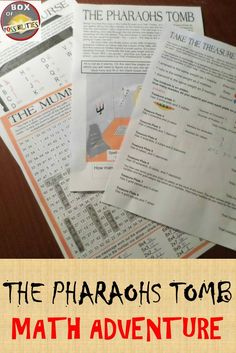 Egyptian Math Adventure; The Pharaohs tomb. Your students will love this as it lets them use their maths knowledge (multiplication, basic algebra, odds/evens etc) in an Egyptian maths adventure where they need to break the curse, defeat the mummy and get
