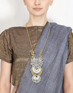 Paan Crescent Ghungroo Pendant Necklace-RITIKA SACHDEVA