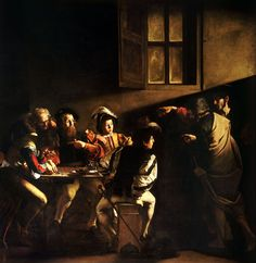 The Calling of Saint Matthew (1599–1600). Contarelli Chapel, San Luigi dei Francesi, Rome. The beam of light, which enters the picture from the direction of a real window, expresses in the blink of an eye the conversion of St Matthew, the hinge on which his destiny will turn, with no flying angels, parting clouds or other artifacts.