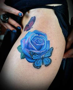 grey butterfly white rose | Blue-Rose-and-Butterfly-Thigh-Tattoos