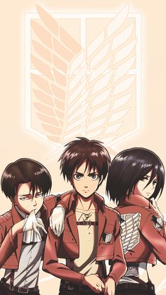 Levi, Eren, and Mikasa - Attack on Titan