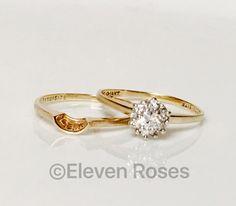 Vintage 585 14k Gold Diamond Engagement Bridal Wedding Band Ring Set 1/3 CTW #VintageEstate #Cluster #Wedding