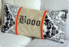 Easy pillow wrap - cute idea to change up your pillows for the seasons!