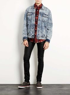 Black Leather Look Spray On Skinny Jeans - Men's Jeans - TOPMAN