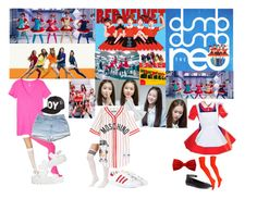 """""""Red Velvet Dumb Dumb"""" by presley-malyk ❤ liked on Polyvore featuring American Apparel, Victoria's Secret PINK, Wet Seal, Brooks Brothers, BOY London, adidas Originals and Moschino"""