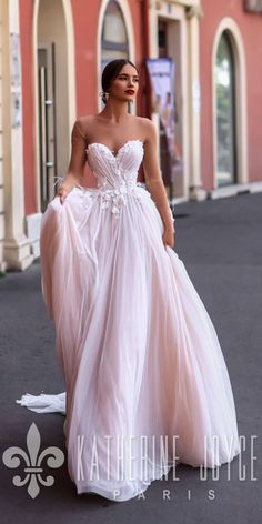 Hottest 27 Wedding Dresses Fall 2018 ❤ wedding dresses fall 2018 a line blush strapless sweetheart neckline katherine joyce paris ❤ See more: http://www.weddingforward.com/wedding-dresses-fall-2018/ #weddingforward #wedding #bride