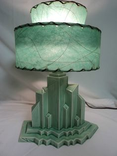 Antique Table Lamp Art Deco Lighting Mid Century New York City Scape Fiber Shade