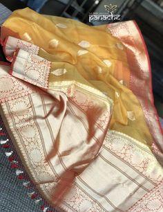 Panache - The Desi Creations Gold Silk Saree, Kora Silk Sarees, Banaras Sarees, Silk Saree Kanchipuram, Organza Saree, Chiffon Saree, Saree Dress, Cotton Saree, Brocade Blouse Designs