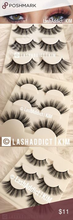 Luxy mink lashes eyelashes lilly makeup new fur 3 pairs Mink Lashes Eyelashes Last Up To 10-25 Applications  With Proper Care Style: wispy flutter long Shipping within 1 Business Day  Price is firm unless bundled  Will be delivered in tray as shown Makeup False Eyelashes