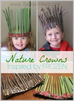OutdoorsMom: Nature Crowns Inspired By Frozen What a great DIY idea for the kid. - OutdoorsMom: Nature Crowns Inspired By Frozen What a great DIY idea for the kids or grandkids when - Forest School Activities, Nature Activities, Toddler Activities, Preschool Activities, Summer Activities, Camping Activities For Kids, Kids Crafts, Easy Crafts, Kids Outdoor Crafts