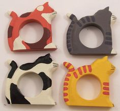 4 Painted Wood Cat Napkin Rings #HMKCDS