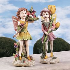 Design Toscano Fairies of the Meadow Garden Statues: Meadow Fairy and Meadow Pixie *** You can find more details by seeing the picture web link. (This is an affiliate link). Fairy Statues, Gnome Statues, Fairy Figurines, Garden Statues, Pergola, Meadow Garden, Outdoor Statues, Flower Fairies, Fairies Garden