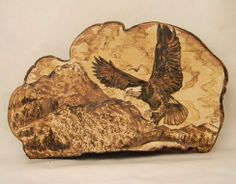 Carved / Burned Eagle Landscape Drawing on Tree Conk: Removed Mushroom Paint, Wooden Walking Sticks, Wood Burning Art, Landscape Drawings, Country Crafts, Christmas Wood, Nature Crafts, Pyrography, Fungi