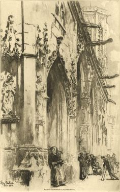 Edgar Chahine - 1902 Etching, St. Germain L'Auxerrois