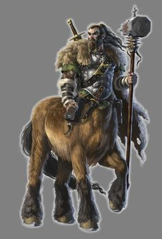m Centaur Cleric WarHammer Sword northern forest mountains wilderness Fantasy Races, Fantasy Warrior, Fantasy Rpg, Medieval Fantasy, Fantasy Artwork, Fantasy World, Dungeons And Dragons Characters, Dnd Characters, Fantasy Characters