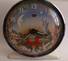 """""""Pixie"""" animated alarm clock by Westclox, circa 1960s Toys, Classic Clocks, Old Spice, Antique Items, Winter Christmas, Pixie, Decorative Plates, Animation, Antiques"""