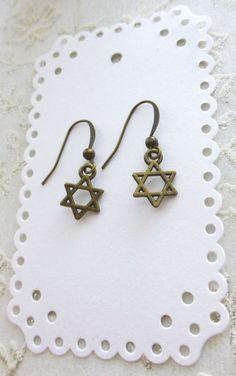 Judaica Religious Star Of David Jewish Star Antique Brass Spirituality Earrings