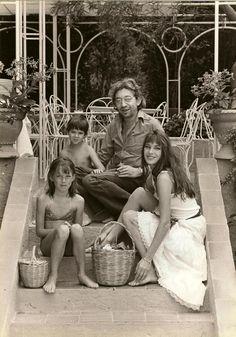 Jane Birkin, Charlotte, Serge Gainsbourg and Kate Barry by James Adanson, Saint-Tropez, 1977