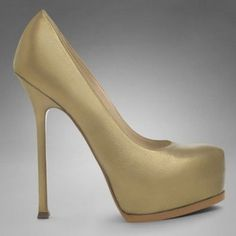 $214  Exclusive YSL Trib Too High Heel Pump In Metallic Gold Leather