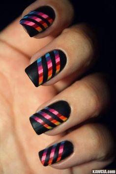 Black rainbow nails