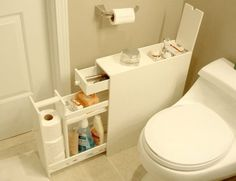 Tuck a skinny shelf into any unused bathroom space. | 42 Storage Ideas That Will Organize Your Entire House