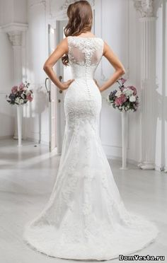 Красивое кружевное свадебное платье в стиле рыбка (#26 968-1), цена 70600 руб. | «Дом Весты»