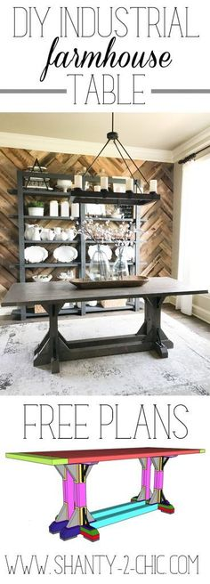 Free plans for this Industrial Farmhouse Table! Perfect weekend project. This table was built for $170 in lumber and hardware and is designed more narrow making it a great option for those limited on space but still seats up to 6 people comfortably. Get the free plans and how-to tutorial at www.shanty-2-chic.com