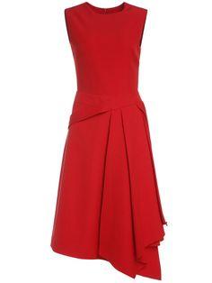 Red Crew Neck Asymmetric Dress.