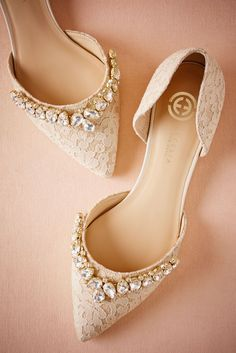 For a touch of glamour, opt for these pointed toe, bejewelled lace flats. For a touch of glamour, opt for these pointed toe, bejewelled lace flats. Lace Flats, Lace Heels, Gold Flats, Wedding Dress Trends, Wedding Dresses, Bridal Gowns, Prom Shoes, Dance Shoes, Pumps