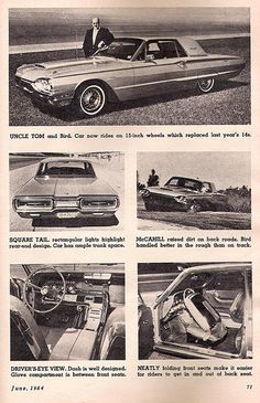 "Tom McCahill, famed car tester for ""Mechaniz Illustrated"" magazine testing Thunderbird in Michigan, 1964."