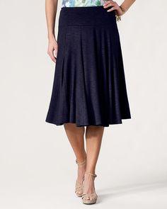 Coldwater Creek Knit Flared Skirt (dark navy)