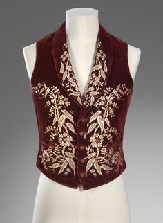 Silk, cotton, leather men's waistcoat, possible English and from ca. 1850. | NGV