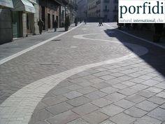 Benevento, Corso Garibaldi - 14.500 m2 of porphyry natural stone, Cubico Irregular + Palladium Roma. www.porfidi-online.com