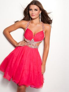 Sheath Strapless Long Hot Pink Chiffon Beaded Prom Dress Corset ...