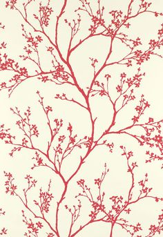 Wallcovering / Wallpaper | Twiggy in Raspberry | Schumacher