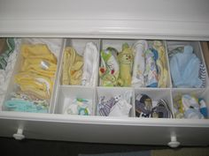 Baby Clothes Organization using drawer dividers