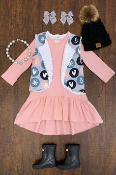 Pink & Gray Holiday Vest Dress - Sparkle In Pink Outfits Niños, Girls Fall Outfits, Little Girl Outfits, Toddler Girl Outfits, Toddler Fashion, Toddler Dress, Girl Fashion, Fashion Hats, Fashion Wear
