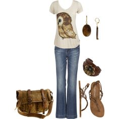 LOVE the owl shirt! I would throw in more colors in the accessories than just brown though. And I hate those jeans.