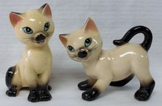 Vintage Siamese Cats Salt & Pepper- 'I'm Saucy' 'Kittens By Karen' 1960's Japan
