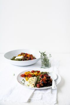 French puy lentil and goat cheese salad with roasted beets and tomatoes.