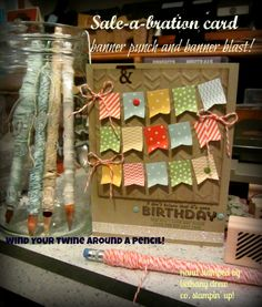 love the little banners - and check out the organizational idea, twine on pencils