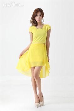Clothing, Latest Slim Swallow Tail Chiffon Asymmetrical Summer Dress , $38.99