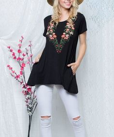 Look what I found on #zulily! Black Floral Side-Pocket Sidetail Top - Plus Too #zulilyfinds