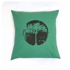 Tree Pillow Cover Grass Green 16x16 Dark Brown Tree Screenprint by Boomerang360 on Etsy