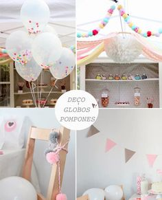 globos y confeti                                                                                                                                                                                 Más Diy Birthday, Birthday Parties, Birthday Ideas, Happy Brithday, Happy Party, Ideas Para Fiestas, Diy Party Decorations, First Birthdays, Baby Shower