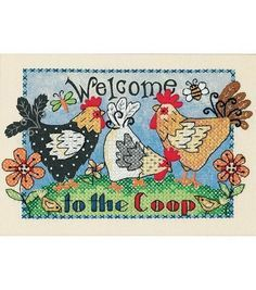 Kick-start a colorful cross stitch project with the Dimensions Welcome To The Coop Mini Stamped Cross Stitch Kit 7 x 5. The whimsical stamped design features three chickens in vibrant colors and the w