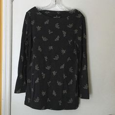 Dark grey top 70% rayon. 30% polyester.   Long sleeve top with slits on the side. Ask questions. No trades. Carole Little Tops Tunics